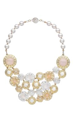Bib-Style Necklace with Gold- and Silver-Plated Brass Components, Rose Quartz Gemstone Cabochons and Swarovski Crystal Pearls - Fire Mountain Gems and Beads