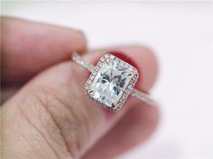 Emerald cut 5x7mm Moissanite Ring Solid 14k Rose by LoveGemArts
