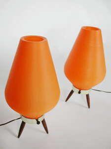 #orange table lamps #vintage