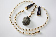 Vintage Necklace Opalescent Scarab Porcelian Pendant by patwatty, $15.00