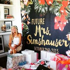CUSTOM Backdrop for bridal shower- Tropical Floral by MrsCustomShop Tropical Bridal Showers, My Bridal Shower, Bridal Shower Favors, Bridal Shower Banners, Bridal Shower Pictures, Bridal Shower Backdrop, Wedding Bride, Our Wedding, Dream Wedding
