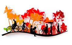 Uri Dushy - Works of Art - Wall Sculptures: Day In the Park Metal wall art Metal Wall Decor, Metal Wall Art, Tree Wall Art, Mural Art, Wall Sculptures, Bicycles, Trees, Animation, 3d