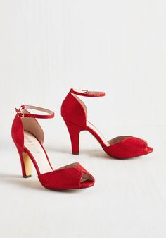 Fine Dining Heel in Rouge. A fabulous meal is made even richer by these beautiful red heels! #red #prom #modcloth