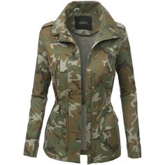 LE3NO Womens Long Sleeve Camo Military Anorak Jacket (585 MXN) ❤ liked on Polyvore featuring outerwear, jackets, camo anorak jacket, long sleeve jacket, camo jackets, fashion military jacket and military style jacket