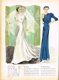 Vogue Pattern Book, February-March 1937 featuring Vogue S-3937 (The Bride) and S-3938 (The Maid of Honour)