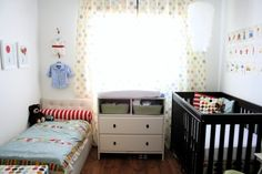 I'm basically pinning this girl's entire post about her nursery. They have an apt, and they put two kids in a small room, and it looks amazing!