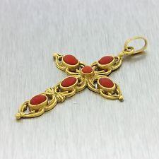 1930 Antique Art Deco Estate 18k Solid žluté zlato Coral Cross náhrdelník s přívěskem