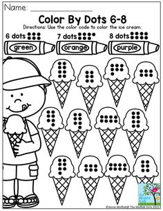 Color By Dots- Simple counting activity to enforce number correspondence. There are plenty of other fun math and literacy activities to keep your preschoolers happy to learn in the Summer Review NO PREP Packets!: