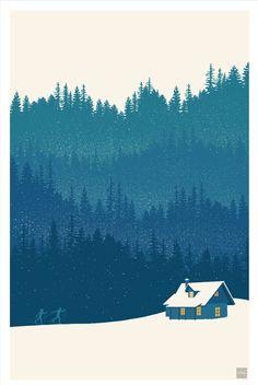retro minimalist nordic ski illustration by ArtBySassanFilsoof