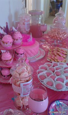 my little girl 2nd birthday party ,buffet all in pink,with lots of details,created by chantal