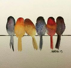 Watercolor birds on a line More