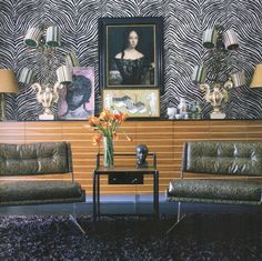 Doug Meyer interior. Zebra wallpaper. Perfect balance and just the right amount of tension with a retro fabulous vibe. #wallpaper #interiordesign #design