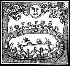 Witch go you fast, witch go you  If you will not go fast, witch let me  Circling a circle widdershins (counter-clockwise)  Linking hands quickly and merrily widdershins,  Wives, crones, mothers and young lasses  Round go we!