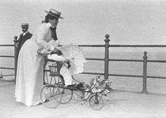[Woman pushing perambulator along Bray seafront] Bray Ireland, Emerald Isle, Reading Room, Queen Victoria, Dublin, Old Photos, The Past, Fantasy, Woman