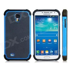 Color: Blue + Black; Brand: N/A; Model: N/A; Material: Plastic + TPU; Quantity: 1 Set; Compatible Models: Samsung Galaxy S4 i9500; Other Features: Precisely fits the contours of the Samsung Galaxy S4 i9500; Protects your device from scratches, dust and bumps Unique sports ball feel Direct external access to all buttons, controls and ports Adds a bright touch to your device; Packing List: 1 x Protective case; http://j.mp/1tp6mXU
