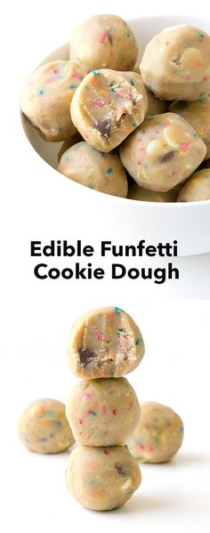 Edible Funfetti Cookie Dough - Sweetest Menu - - Egg-free cookie dough filled with colourful funfetti pieces and chunks of white and milk chocolate. Funfetti Cookies, Edible Cookies, Edible Cookie Dough, Cookie Dough Desserts, Cookie Recipes, Fun Desserts, Delicious Desserts, Dessert Recipes, Cookie Dough