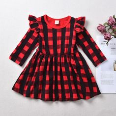 Check out this great stuff I just found at PatPat! Toddler Christmas Outfit, Girls Christmas Outfits, Baby Girl Christmas, Little Girl Outfits, Cute Outfits For Kids, Baby Girl Halloween, Plaid Outfits, Plaid Dress, Designer Kids Clothes