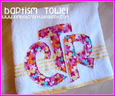 DIY CTR towel-- Great baptism gift. Her technique is bad... would never hold up. But i like the CTR NOT in the shield idea. Less zigzagging mv