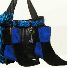 """Ankle Boots Suede Blue Black size 6.5 9.5 """" high boots with 2.5 heel Antthony Mark Hankins Shoes Ankle Boots & Booties"""