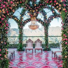 indian wedding Modern Outdoor Mandap Decorated with Roses, Filament Lights amp; Crystal Chandelier With silver and white colour wedding mandap chairs wedding mandap Wedding Set Up, Desi Wedding, Perfect Wedding, Wedding Ideas, Indian Beach Wedding, Indian Wedding Stage, South Indian Weddings, Wedding Pictures, Elegant Wedding
