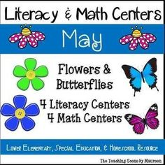 May Themed Literacy & Math Centers:  Flowers & Butterflies Themed Centers for K-2nd, Special Education & Home Schooled Children.  Centers include:  Flower Sight Word Game; Flower Roll It Read It!; Butterfly Real & Nonsense Words; Butterfly Word Game; Flower Ten Frame Match; Flowers & Butterflies Roll & Bump; Butterfly Greater Than, Less Than & Equal To Clip Game; & Flowers & Butterflies Roll & Cover. Kids have some seasonal fun while learning!