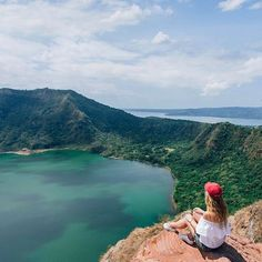 Feeling alive again as I traded the busy city of Manila for some natural beauty! 🍃 Fun fact for you: this peculiar volcano is located on an island, within a lake, within a island, and is the smallest active volcano in the world 😱