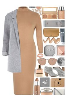 """Camel & Grey"" by xgracieeee ❤ liked on Polyvore featuring River Island, Bare Escentuals, Linda Farrow Luxe, Maybelline, Chloé, Christian Dior, Guerlain, Chanel, Clinique and Poketo"