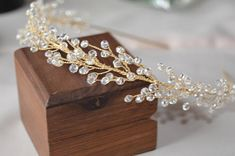 Delicate crystal hair tiara will be best addition for your hair style. Special design! Ready to ship! Made with: glass beads, gold color wire and headband. Fully handmade. For any questions please contact, I will be happy to help you! Thank you for visiting my shop! You can also