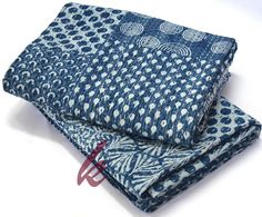 Twin Size Indigo Bedcover Handmade Hand Block Print Quilt