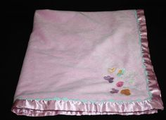 Baby Connection Pink Velour Satin Floral Flowers Ric Rac Girl Blanket Lovey #babyconnection