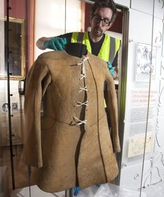Civil War center - Buff coat worn by Colonel Francis Hacker from East Bridgford in Nottinghamshire. He was the officer in charge of escorting Charles I to his beheading and was one of a number of signatures on the king's death warrant.