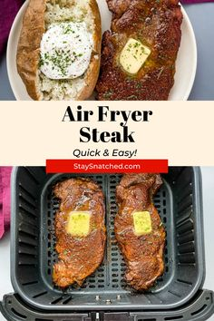 This Juicy Air Fryer Steak recipe is tender and made using a homemade rub for optimal flavor. Whether you're looking to cook your steak medium, medium-rare, etc. this is the recipe for you! Air Fry Recipes, Air Fryer Dinner Recipes, Delicious Dinner Recipes, Steak Recipes, Healthy Recipes, Air Fryer Steak, Marinated Steak, Air Fryer Healthy, Quick Easy Meals