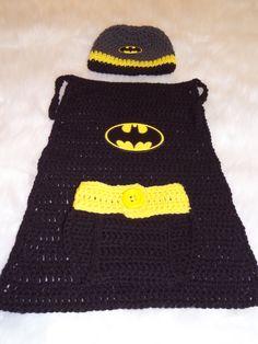 Photo Prop Newborn Crochet Batman Set Hat Cape & by TheCrafty6 Loom kni...