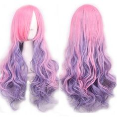 Lolita Style Long Pink Ombre Purple Trendy Fluffy Wavy Side Bang Synthetic Cosplay Wig For Women