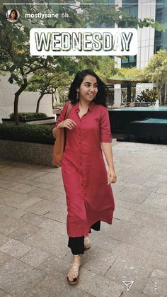 Mostlysane is better than any other fashion vloger Hence she is the best Love love Office Wear Women Work Outfits, Casual College Outfits, Indian Formal Wear, Formal Wear Women, Indian Wear, Indian Dress Up, Pakistani Fashion Casual, Indian Designer Suits, Kurta Designs Women