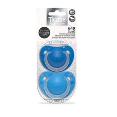Boys 6-18 months Orthodontic Silicone Soother Twin Pack in assorted designs.