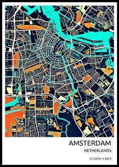 Stylish City Maps Maps poster prints by Vedran M Amsterdam Map, Amsterdam Netherlands, Map Design, Design City, Urbane Kunst, Urban Design Diagram, City Map Poster, Rome, Tokyo