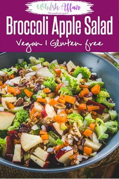 """Broccoli Apple Salad is a """"tastes great"""" all season side made from fresh broccoli, apples walnuts smothered with a tasteful dressing of apple cider vinegar. via habit super food salad recipe Broccoli Apple Salad Fresh Broccoli, Broccoli Salad, Broccoli Recipes, Vegetable Salad, Apple Salad Recipes, Healthy Salad Recipes, Vegetarian Recipes, Healthy Eats, Carrot Recipes"""