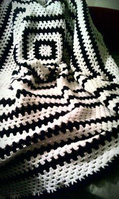 Black & White Crocheted Afghan-Granny Square Pattern. $120.00, via Etsy.