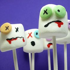 Spook out party guests with this playful Zombie Marshmallow snack. Food coloring pens make it a quick, stress-free Halloween dessert. http://www.parents.com/holiday/halloween/recipes/creative-halloween-food/?socsrc=pmmpin091712HPItextZombieMarshmallows#page=3