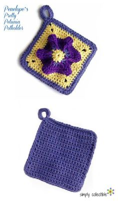 Sassy up your kitchen with this stunning Penelope's Pretty Petunia Potholder crochet pattern. You will love it so much, you'll make extras and hang them where they can be visible from every angle of the kitchen. (Maybe even catch a glimpse from the dining room?)    Penelope's Pretty Petunia Potholder crochet pattern works up a double-sided potholder for twice the protection. At this size, it will even work well as a trivet to protect your table or counters. | SimplyCollectibleCrochet.com