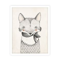 Illustrated fox art print by Kelli Murray for Rylee & Cru. Printed on matte white paper - acid free, 110 lb cover, 298 GSM Hand signed and sealed in a cello sle