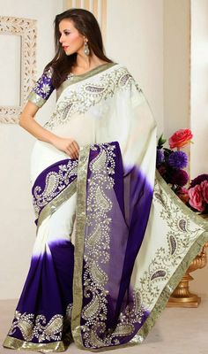 Viscose Georgette Sari With Embroidery Price: Usa Dollar $149, British UK Pound £88, Euro110, Canada CA$162 , Indian Rs8046.