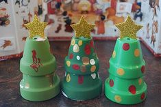 Christmas trees from terra cotta pots :A parent treasured gift for years to come.