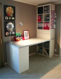 Ikea Kallax with Desk . Ikea Kallax with Desk . It Was Put to Her with Expedit Bookshelves From Ikea A Craft Room Office, Room Organization, Kallax Ikea, Ikea, Diy Desk, Ikea Office, Home Office Design, Desk Decor, Home Diy