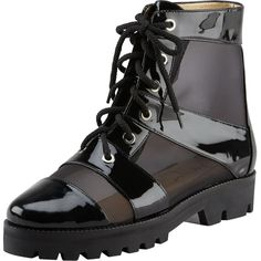 Walter Steiger Mesh & Patent Combat Boot, Black ($995) ❤ liked on Polyvore