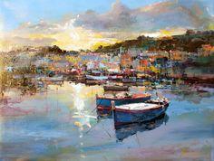 Branko Dimitrijević Landscape Art, Landscape Paintings, Impressionist Landscape, Lake Art, Boat Painting, Spanish Painters, French Artists, Beautiful Artwork, Great Artists