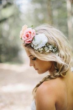Lovely simple pink and white flower crown, ideal for your Boho Wedding braid hairstyle