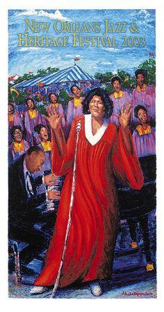 Jazz Fest Poster 2003 featuring Mahalia Jackson
