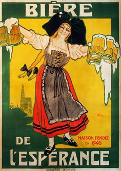 Vintage / Retro Sign Old Style wall decor Reproduction Print Poster Nr 39. Beer French Lady